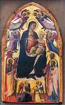 Maestro del 1416: Thronende Madonna mit Kind, Engeln und Heiligen [Um 1400-1405, Lindenau-Museum Altenburg]