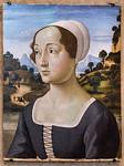 Domenico del Ghirlandaio: Bildnis einer Frau vor Landschaft [Um 1480-1485, Lindenau-Museum Altenburg]