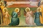 Bernardo Daddi, Werkstatt: Krönung Mariens mit Engeln und Heiligen, Detail [Um 1340, Lindenau-Museum Altenburg]
