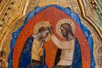 Maestro di San Lucchese: Krönung Mariens mit Engeln und Heiligen, Detail [Um 1365-1370, Lindenau-Museum Altenburg]