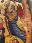 Maestro del 1416: Thronende Madonna mit Kind, Engeln und Heiligen, Detail [Um 1400-1405, Lindenau-Museum Altenburg]