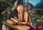 """... oder schreiben im Tessin ihre Memoiren  (""""Der hl. Hieronymus in felsiger Landschaft"""", Lucas Cranach d. Ä., um 1515, noch in der Gemäldegalerie)"""