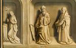 Simon Marmion: Omer-Retabel, Rückseite. Maria, David, Matthäus [1459, Gemäldegalerie Berlin]