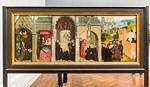 Simon Marmion: linker Flügel des Retabels aus Saint-Omer - Leben des Hl. Bertin [1459, Gemäldegalerie Berlin]