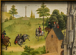 Simon Marmion: Omer-Retabel, Feld 6. Unfall des Ritters [1459, Gemäldegalerie Berlin]