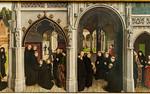 Simon Marmion: Omer-Retabel, Feld 7,8. Eintritt des Ritters und 4 Adliger ins Kloster [1459, Gemäldegalerie Berlin]