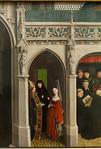 Simon Marmion: Omer-Retabel, Feld 9. Versuchung Bertins und Abwehr durch Hl. Martin [1459, Gemäldegalerie Berlin]