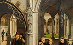 Simon Marmion: Omer-Retabel, Feld 7,8. Kreuzgang mit Totentanz [1459, Gemäldegalerie Berlin]