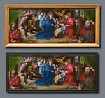 Hugo van der Goes, Anbetung der Hirten: restauriertes Bild in altem Rahmen oben (Fotomontage) und neuem Rahmen [Gemäldegalerie Berlin]