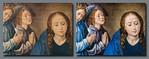 Hugo van der Goes, Anbetung der Hirten: Maria vor und nach Restaurierung [Gemäldegalerie Berlin]