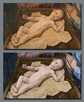 Hugo van der Goes, Anbetung der Hirten: Jesuskind vor und nach Restaurierung [Gemäldegalerie Berlin]