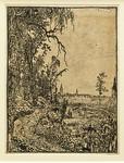 Hercules Seghers: Eine von Bäumen gesäumte Straße, ein Dorf in der Ferne [um 1620, Kupferstichkabinett Berlin]