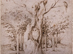 Hieronymus Bosch: Das Feld hat Augen, der Wald hat Ohren, Detail [Um 1500, Kupferstichkabinett Berlin]