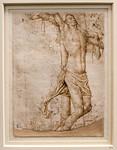 Hans Memling (Werkstatt): Der gute Schächer am Kreuz [Ende 15.Jh., Kupferstichkabinett Berlin]