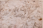 Hieronymus Bosch (oder Werkstatt): Schlacht der Vögel gegen die Säugetiere, Detail [Um 1500-1510, Kupferstichkabinett Berlin]