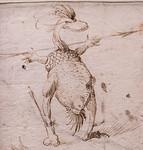 Hieronymus Bosch: Zwei Phantasiegeschöpfe 2, Detail [Um 1500, Kupferstichkabinett Berlin]