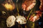 Juan de Arellano: Blumen-Bodegon mit Sonnenblume, Vögeln, Früchten und Insekten, Detail [1647, Academia de Bellas Artes, Madrid]