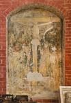 Brandenburg, St. Katharinen. Wandmalerei: Kreuzigung im nördl. Chorumgang (1.H.15.Jh.)