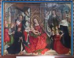 Nördlingen. Stadtmuseum. Familienaltar des Malers Friedrich Herlin, Mitteltafel mit Herlin als Lukas (1488)