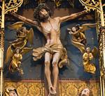 Rothenburg. St. Jakob: Hochaltar, Mittelschrein, Kreuzigung, Christus mit 4 Engeln