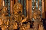 Rothenburg. St. Jakob, Heiligblutaltar, Mittelschrein, Jesus und Judas