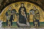 Istanbul, Hagia Sophia: Widmungsmosaik über Schöner Tür im Südvestibül des inn. Narthex (Mitte 10. Jh.)