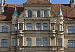 Güstrow, Schloss. Westfassade, mittl. Teil
