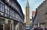 Goslar. Blick von Süden auf Westtürme der Marktkirche