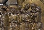 Taufbecken aus Hildesheimer Dom: Jordanübergang mit Bundeslade, Detail