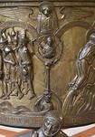 Taufbecken aus Hildesheimer Dom: Paradiesfluss Tigris, Tugend Tapferkeit, Prophet Daniel, Evangelist Markus
