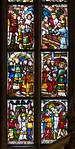 Halberstadt, Dom. Fenster in südl. Chorumgang: Legende des hlg. Dionysius, Detail