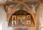 Halberstadt, Liebfrauenkirche. Barbarakapelle: Retabel, Wandvertäfelung, Wandmalerei (um 1440, Predella später)