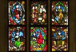 Halberstadt, Dom. Mittl. Fenster der Marienkapelle (1340): Leben Jesu, seitl. Propheten und Könige des AT