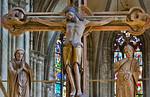 Halberstadt, Dom. Triumphkreuz: Christus, Maria und Johannes