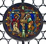 Merseburg, Dom, Vorhalle, Glasfenster-Medaillons, Kreuzigung (um 1260)