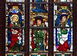 Werben, Johanniskirche, Fenster nördl. Langhaus nVII, Apostel mit Schwert, Jakobus d.Ä + Judas Thaddäus