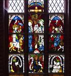 Werben, Johanniskirche, Fenster nördl. Langhaus nVIII, Kreuzigung, unten Jonas, Joh. d.T., Ezechiel (1460)