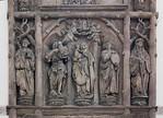 Chemnitz, Schlosskirche, ehem. Nordportal, Meister H.W. (1505): Madonna, Johannes, benedikt und Scholastika