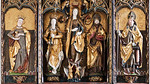St. Niklas, Ehrenfriedersdorf, Altar, Festtagsseite: Barbara, Katharina, Madonna auf Mondsichel, Nikolaus, Erasmus (Meister H.W.)