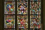 Meißen, Dom. mittl. Ostfenster: re. Passion, li. Opferszenen des AT, Mitte Könige + Propheten (um 1260)