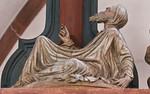 Wechselburg, ehem. Augustinerchorherrenstift. Kreuzigungsgruppe, Adam zu Fuß des Kreuzes