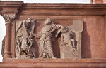Wechselburg, ehem. Augustinerchorherrenstift. Lettner, Südseite Kanzelziborium: Isaaksopfer