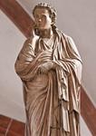 Wechselburg, ehem. Augustinerchorherrenstift. Lettner: Kreuzigungsgruppe, Johannes (1.Dr. 13. Jhdt)