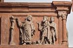 Wechselburg, ehem. Augustinerchorherrenstift. Lettner, Nordseite Kanzelziborium: Aufrichtung der ehernen Schlange