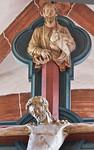 Wechselburg, ehem. Augustinerchorherrenstift. Kreuzigungsgruppe, Gottvater über Christus