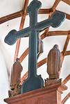 Wechselburg, ehem. Augustinerchorherrenstift. Kreuzigungsgruppe, Rückseite