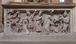 Erfurt, Severikirche, Severisarkophag, Anbetung der Könige (Meister des Severisarkophags, 1370)