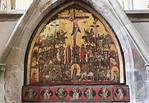 """Erfurt, Predigerkirche, Tafelbild mit Kalvarienberg, """"Kreuzigung im Gedräng"""" (1350)"""