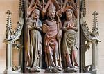 Erfurt, Severikirche, Severisarkophag, Deckplatte mit Severus, Vincentia und Innocentia (Meister des Severisarkophags, 1370)