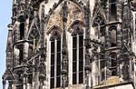 Münster, Überwasserkirche von Westen, oberstes Turmgeschoss, Detail